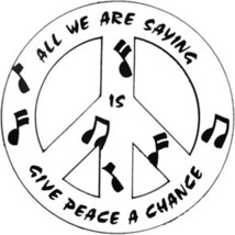 """White-Give Peace a Chance 4"""" Car/Refrigerator Magnet - $6.64"""