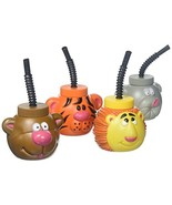 Plastic Zoo Animal Sipper Cups - 1 Dozen Assorted Cups - $18.52
