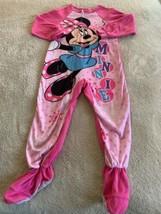 Disney Minnie Mouse Girls Pink Polka Dota Fleece Long Sleeve Pajamas 5T - $6.43
