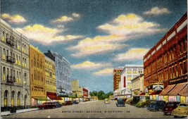 VINTAGE POSTCARD FIFTH STREET MERIDIAN MISSISSIPPI WITH ROWS OF OLD CARS - $13.01