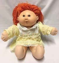 Vtg 1990 Cabbage Patch Kids First Edition Hasbro Girl Doll Orange Hair Blow - $10.88
