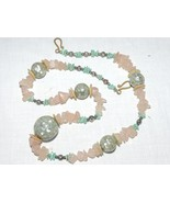 Vintage  Mother Pearl**Turquoise**Quartz & Shell Necklace Handcrafted '... - $12.16