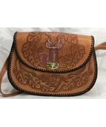 "Handbag Purse Leather Hand Tooled Antelope Elephant Colored 10 1/2"" x 8""... - $39.60"