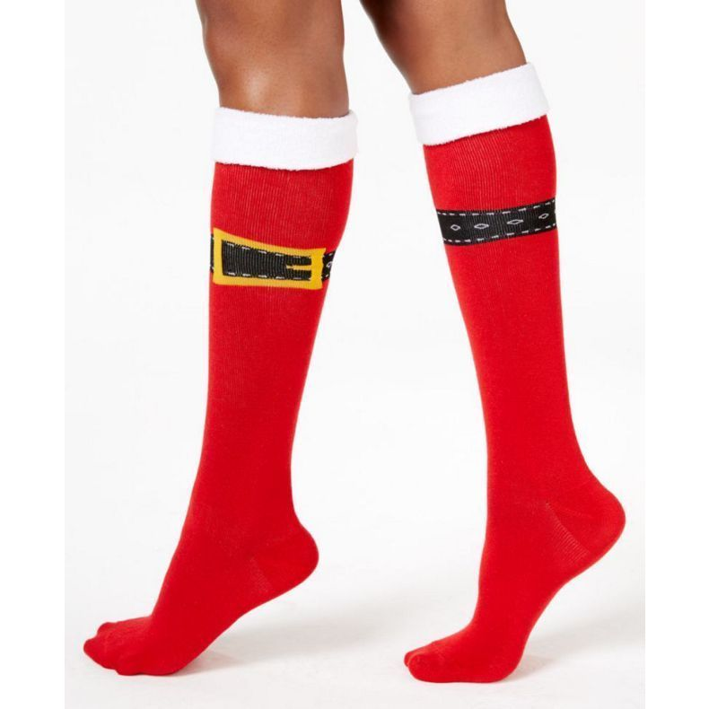 Charter Club women's Santa Buckle Up Knee High Socks Red OS