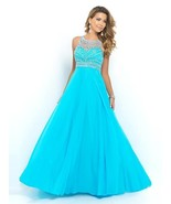 Fashion Women Turquoise Chiffon Beaded Formal Prom Party Dresses A Line ... - $125.00