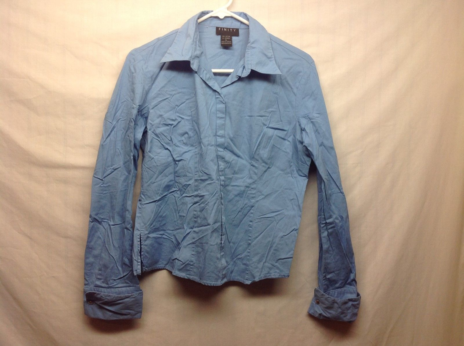 Finity Soft Blue Long Sleeve Collared Cuffed Button Up Shirt Sz XL