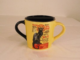 2 Collection Du Chat Noir Large Yellow Black Coffee Half Cups Black Cat ... - $14.01