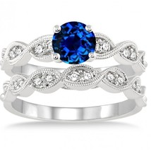 1.5 Carat Sapphire & Simulated Diamond inertwined Bridal set 14K White Gold Fn  - $99.99