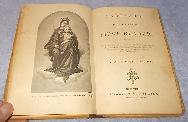 Rare Antique Sadlier's Excelsior First Reader Catholic Childs Text Book 1876