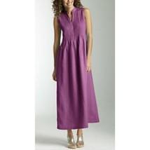 J.Jill Womens Medium Petite Maxi Dress 100% Linen Purple Pleated Sleevel... - $31.83