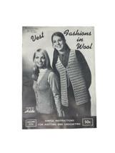 Vintage Antique 1969 Hilde Fashions In Wool Knit Crochet Vest Pattern St... - $14.25