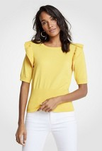 NWT Womens Ann Taylor Yellow S/S  Ruffle Shoulder Pullover Sweater Sz Large - $28.70
