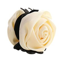 Beautiful Satin Artificial Rose Flower Hair Claw Clips Ponytail Jaw Clips, Beige