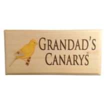 Personalised Canary Sign, Custom Aviary Plaque Grandads Bird Shed Wooden... - $14.07