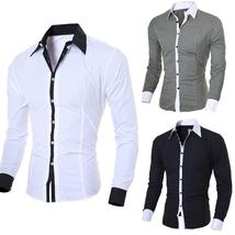 2018 Men Spring Autumn Shirts Long Sleeve Fashion Personality Men's Casu... - $23.22+