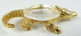 Vintage Miniature Crystal Crocodile Gold Tone Marked T 1982 - $35.00