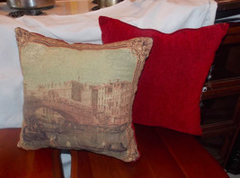 Pair of Red Beige Brown City Bridge Decorative Print Throw Pillows  16 x 16 - $49.95