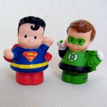 Fisher Price Little People SUPERMAN & GREEN LANTERN DC Super Friends - $8.00