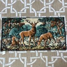 "Vintage Deer Tapestry Buck & 2 Doe in Forest Made in France 37""x20"" - $34.65"
