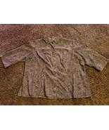 T31 Covington 3/4 Sleeve Button Front Blouse Woman's Plus 24W 26W Brown - $4.80