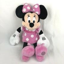 Disney Store Minnie Mouse Soft Plush Pink White Polka Dot Dress Stuffed ... - $13.85