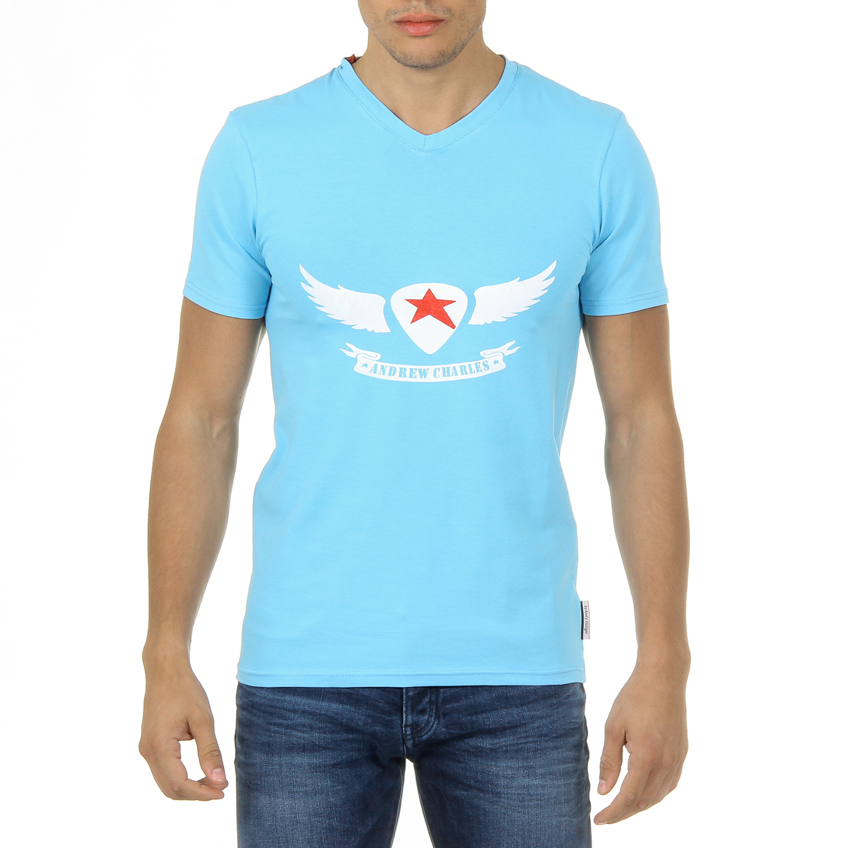 Primary image for Andrew Charles Mens T-Shirt Short Sleeves V-Neck Light Blue KENAN