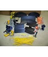 Ho slot car track,transformer,guardrail,controllers,misc. lot Aurora AF/... - $59.95