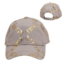 True Religion Mens Gold Metallic All Over Print Cap Sport Strapback Baseball Hat