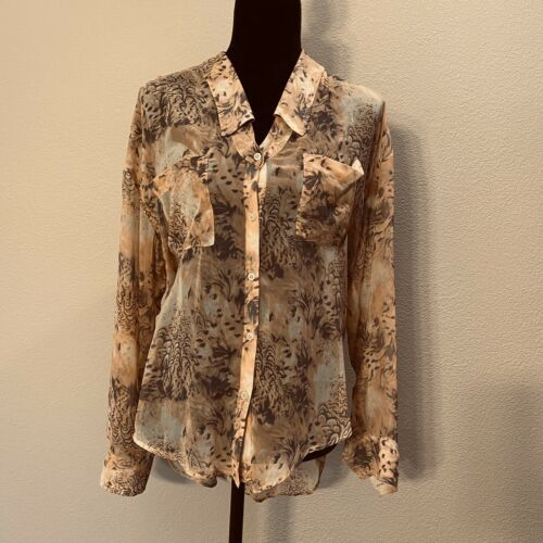 Primary image for Free People button down print blouse size medium semi sheer hi low             C