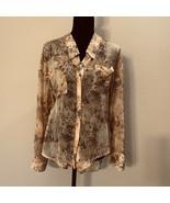 Free People button down print blouse size medium semi sheer hi low      ... - $19.39