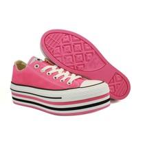 Converse CARMINE ROSE Hot Pink Multi-Striped Platform Low Shoes Wms 8.5 ... - $76.99