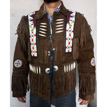 Cowboy Western Biker Leather Jacket Beaded Bone... - $216.00 - $226.00