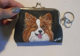 Papillon Dog Hand Painted Coin Purse with Key Chain Vegan Leather - $29.00