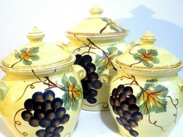 Tabletops Unlimited Vino Hand Painted Collection Provincial Olives Canister Set  - $64.35