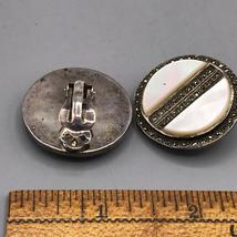 Vintage Sterling Silver Clip On Earrings & Brooch Set Jewelry Mid Century image 4