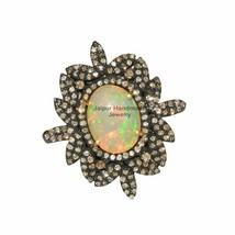 3.09 Ct Opal Gemstone Ring 925 Silver Pave Diamond Designer Vintage Gift... - $219.56