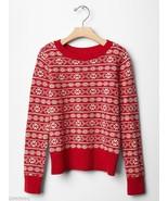 GAP KIDS Girls Red Fair Isle Nordic Crewneck Sweater XXL 14-16 NWT - $36.99
