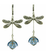 Dragonfly Daze No Monet Earrings Slilver Blue Hand Crafted In USA Hand P... - $39.99