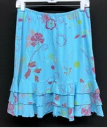 Fresh Produce Sz Small Tiered Ruffles Sky Blue Floral Cotton Womens Skir... - $18.05