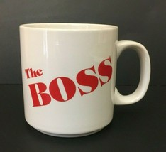 The Boss Coffee Mug Red Letters Russ Berrie Coffee Cup White Free Shipping - $19.99