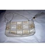 Fabulous Grey/White Leather Handbag-Park Avenue,Gold Accents - $123.25