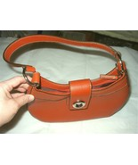 Great Short Handled Orange Leather Handbag,Metal clicking lock - $99.00