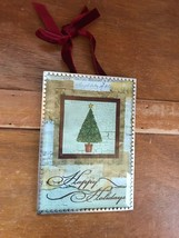 Vintage Reproduction Christmas Tree Postcard Under Beveled Glass & Thin ... - $14.89