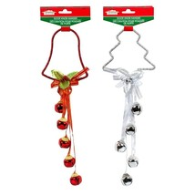 Christmas House Decorative Door Hanger with Bells, 13 in. Red White w - $5.99