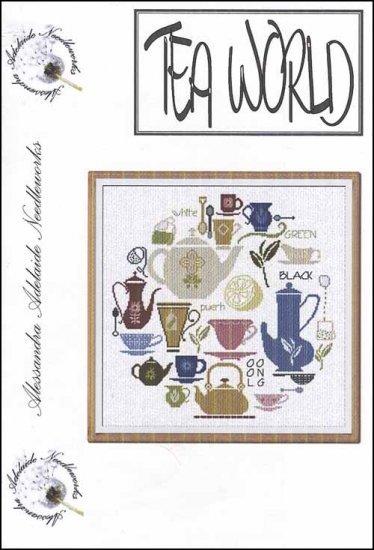 Tea World cross stitch chart Alessandra Adelaide Needlework