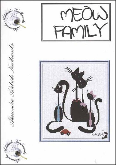 Meow Family cat cross stitch chart Alessandra Adelaide Needlework