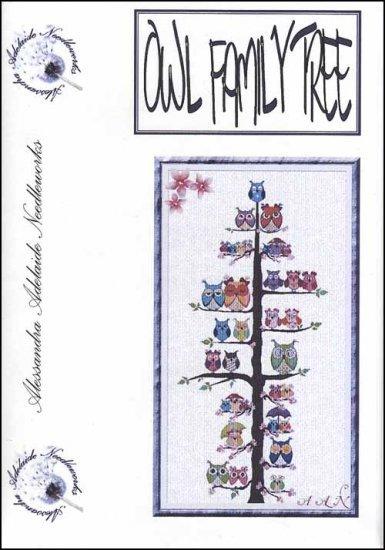 Owl Family Tree cross stitch chart Alessandra Adelaide Needlework