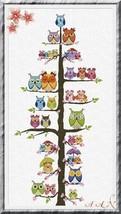 Owl Family Tree cross stitch chart Alessandra Adelaide Needlework - $18.90