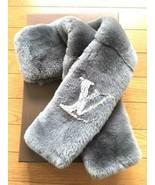LOUIS VUITTON Echarpe Rabbit Fur Muffler Scarf Gray 119 - $1,960.20