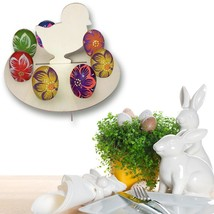 Wooden Chicken Easter Eggs Tray Holder 8 Slot Holes DIY Party Home Decor... - $11.73
